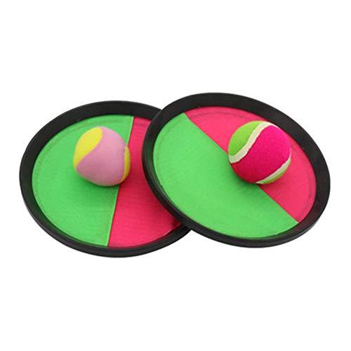 WFF Spielzeug Paddel-Fang-Kugel-Schläger-Set, Disc Paddle Tennis Spiel Sucker Sticky Ball, werfen und fangen Spiel mit 2 Bälle for 2+ Jahre Alten Kinder Geschenk (Color : Round Hard Ball+Soft Ball)