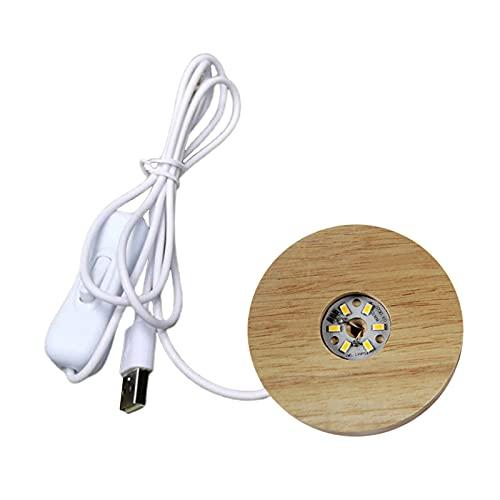 Generic Base de lámpara LED, Base de exhibición de luces de madera de 70mm Base de lámpara alimentada por USB soporte para bola de cristal 3D joyería florero - Warm Light