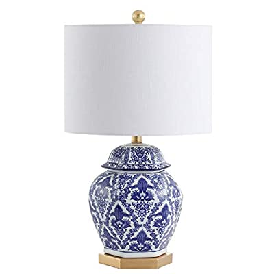 "JONATHAN Y JYL3051A Gretchen 25"" Ginger Jar Ceramic/Metal LED Table Lamp, Classic, Traditional for Bedroom, Living Room, Office, Blue/White"