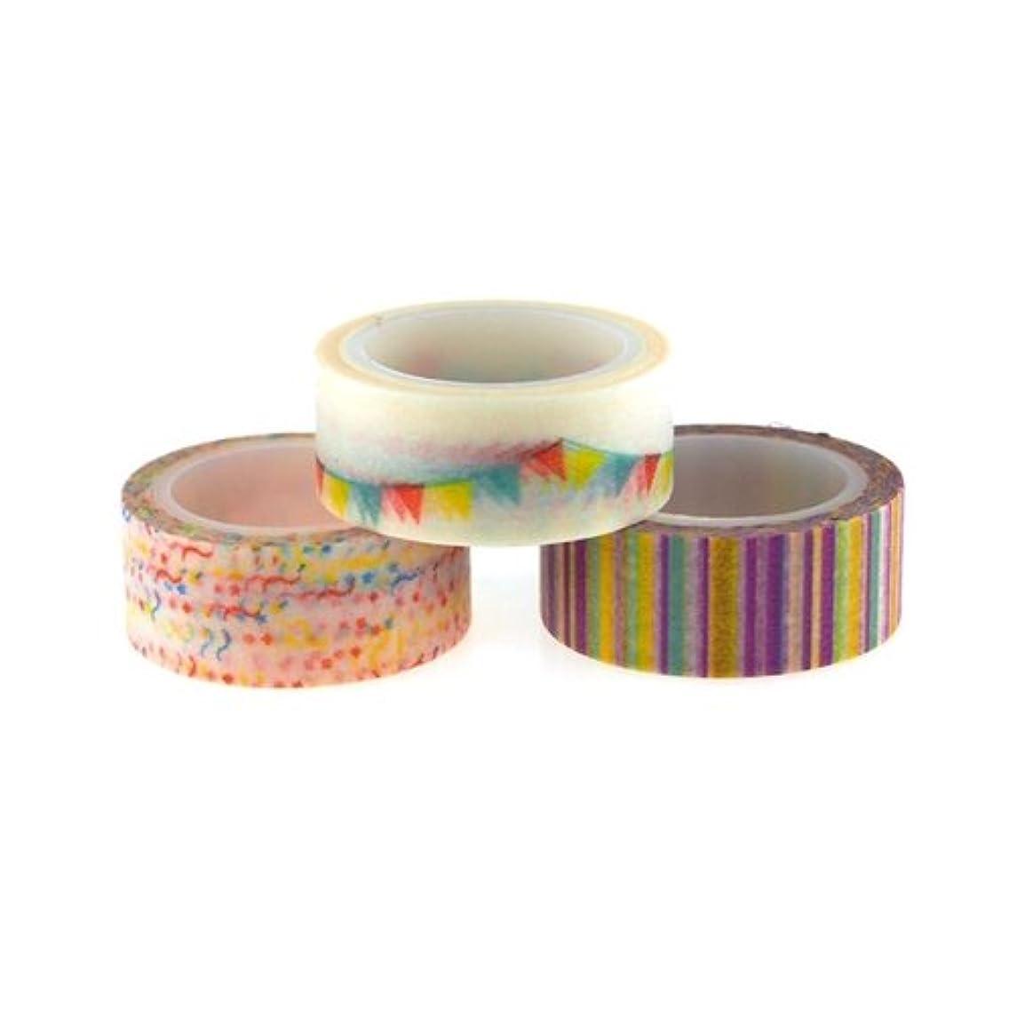 Homeford Firefly Imports Masking Washi Tape, 5/8-Inch, 5 Yards, 3-Pack, Celebration, 5/8