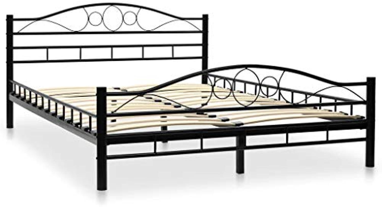 Festnight- Metallbett mit Lattenrost Schlafzimmer Jugendbett 140 x 200 cm Geschwungenes Design (Matratze Nicht im Lieferumfang inbegriffen)