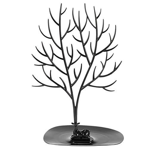 EXCEART Exhibición de Árbol de Joyería Soporte Creativo Cornamentas de Ciervo Collar Pendiente Pulsera Organizador Estante Torre para Navidad Fiesta de Halloween Decoración Negro