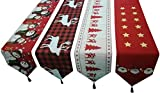 HOSL Pack of 4 Christmas Tree Xmas Deer Snowman Table Runners 14' x 68'(35cm172cm) for Wedding Banquet Party Decoration