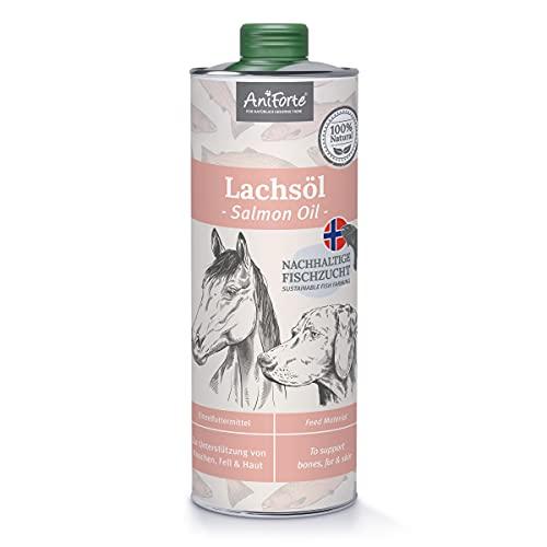 AniForte Premium Olio di Salmone per cani e gatti 1 litro - Spremuto a freddo con acidi grassi Omega 3 e Omega 6, olio salmone per cani, cuccioli, Adulto, Senior, Imballaggio riciclabile senza BPA