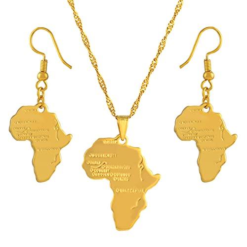 Kkoqmw Conjunto de Joyas de Mapa de África, Collares Pendientes, Pendientes, Mapa de Color Dorado, Conjuntos de África etíope Nigeria Sudán Congo