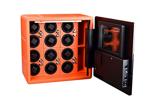 Watch Winder Lux 12 horloges kluis oranje leer