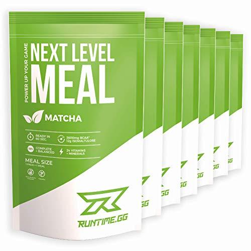 Runtime Next Level Meal Matcha - vollwertiger Mahlzeitersatz für langanhaltende Sättigung, Energie, Konzentration und Leistungsfähigkeit, mit Vitaminen und Nährstoffen, 7 x 150g