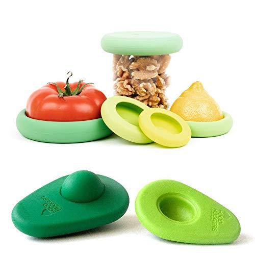 Food Huggers Zero Waste Starter Kit - (7 Pieces) - Reusable Silicone Food Savers Sage Green (Set of 5) + Avocado Hugger Avocado Saver Covers (Set of 2), Keeps Food Fresh, Dishwasher Safe