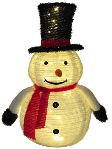 Schneemann Figur Weihnachten für außen Garten 75 cm mit 60 LED beleuchtet