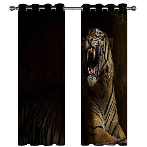 ERBWB Tende Finestre Soggiorno Tigre Nera Tende Oscuranti Camera Moderne 2 Pezzi,Tenda Oscurante con Occhielli Usato per Ragazza e Ragazzo, Poliestere 2 x 85 x 200 cm