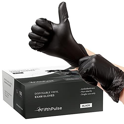 FifthPulse Disposable Vinyl Exam Gloves - Black - Box of 50 - S