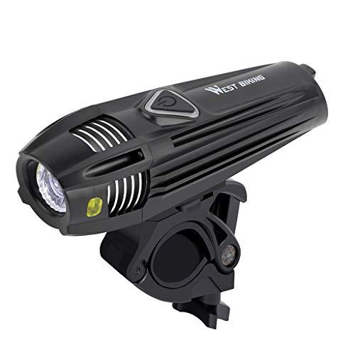Abcidubxc Luz frontal impermeable para bicicleta, recargable por USB, 300 lúmenes
