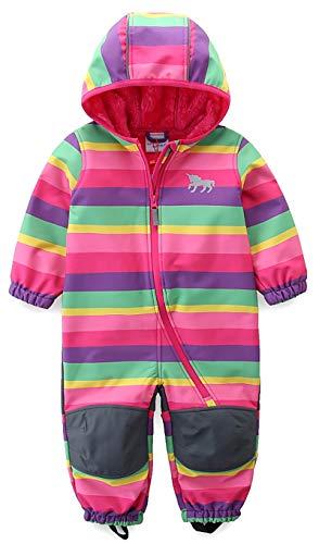 umkaumka Baby Mädchen Schneeoverall Regenbogen Einhorn Softshell Overall Softshellanzug wasserabweisend Winddichtes Plüsch Gr.86