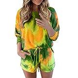 Xniral Damen Pyjama Schlafanzug Kurz Tie-Dye Bedruckte Nachtwäsche Nachthemd Hausanzug Set (i Armeegrün, M)