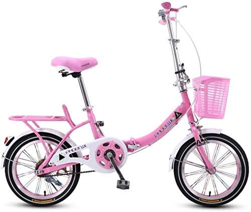 Bicicletas rosa niños de la bici plegable de 20 pulgadas chica camino de la bicicleta de Estudiantes de bicicletas Niños Bici Niza bicicletas Adecuado for niños de 3 ~ 16 De bicicletas (color: rosa, T