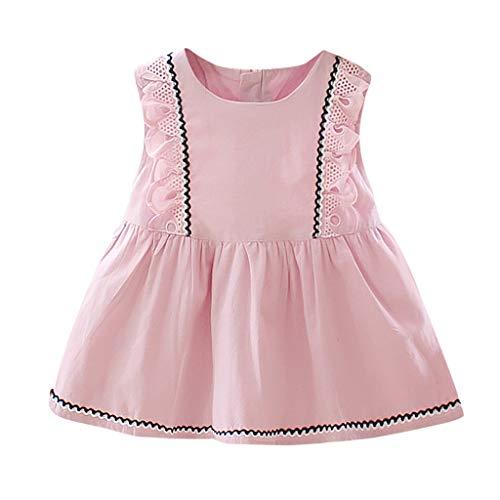 Julhold Robe d'été sans manches en dentelle pour bébé fille Imprimé uni Volants Princesse 0-2 ans - Rose - 44.5 EU