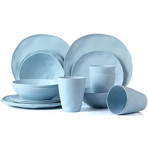 LEKOCH Service de Vaisselle en Bambou Bio 16 pièces pour 4 Personnes (Bleu)