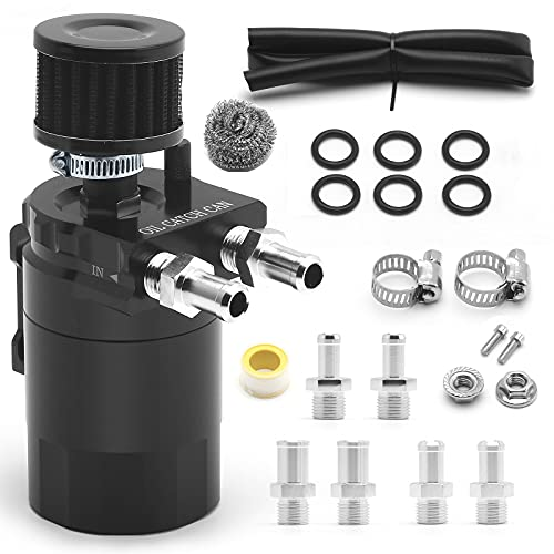 muge racing Universal Oil Catch Can Tank Kit Polish Baffled Reservoir with Breather Filter with 3/8' Fuel Line,Aluminum,Black,400ml