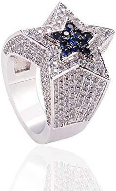 Moca Jewelry Iced Out Sapphire Five Pointed Star Ring 18K Gold Plated Bling CZ Simulated Diamond product image