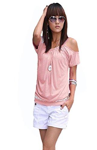 Mississhop Japan Style Damen Top T - Shirt Bluse Longshirt Tunika Tanktop Oberteil NATA puderrosa XL