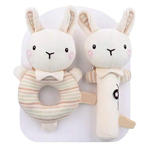 COSYOO Sonajero suave de mano de animal suave de algodón orgánico calmante lindo animal de mano de juguete sonajero de mano