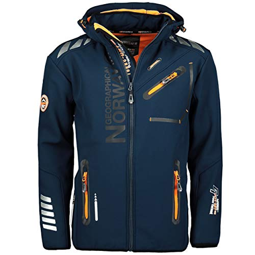 Geographical Norway Royal Men Softshell Jacke Herren Wasserdicht Jacke mit Kapuze Outdoor Windjacke Taktische Jacke Winter ideal für Aktivitäten im Freien (Marine / Orange, L)