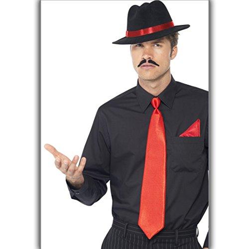 Amakando Mafia Verkleidung mit Hut, Krawatte und Einstecktuch Gangster Kostümset Mafiaboss 20er Jahre Kleidung Mafiosi Outfit Männer Al Capone Kostüm Set