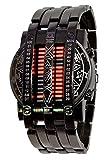 Binary Matrix Blue LED Digital Watch Mens Classic Creative Fashion Black Plated Wrist Watches (Black Red)