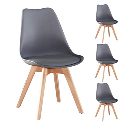 Merax Modern Living Dining Room Chairs Set of 4, Grey, with Wood Legs and Soft Cushion for Kitchen Bedroom