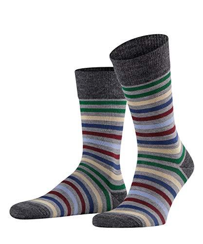 FALKE Herren Socken Tinted Stripe - Woll-/Baumwollmischung, 1 Paar, Grau (Mid Grey Melange 3530), Größe: 39-42