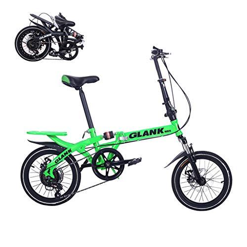 Children's bicycle Bicicleta Infantil Plegable, Frenos De Disco De Choque De Velocidad Ajustable De 16 Pulgadas, Estudiantes Adultos Y Bicicleta Portátil para Niños (Negro, Blanco, Rojo, Verde)