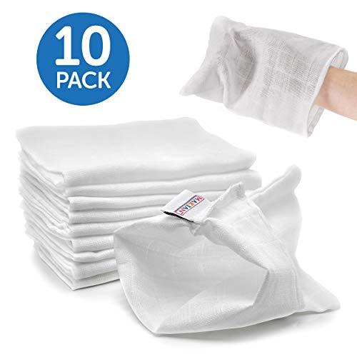 Set da 10 Pezzi di Guanti da Bagno - Manopole per il bagnetto, per neonati e bambini - 100% cotone, certificato Oeko-Tex - Lavabili fino a 90° C - Colore bianco