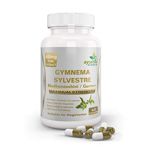 Ayushya Gymnema Sylvestre (Madhunaashini) Capsule, 450mg Pure Extract, 60 Capsules