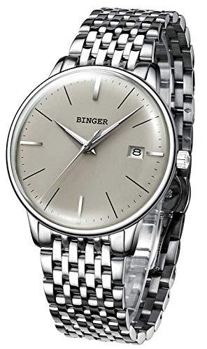 BINGER Suiza Relojes de Hombre,Sapphire Japan Movement Automático Mecánico Reloj Casual 5078 Gris Espejo