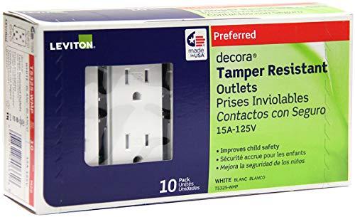 Leviton T5325-WMP 15 Amp 125 Volt, Tamper Resistant, Decora Duplex Receptacle, Straight Blade, Grounding, White M22-Straight, 125 V, 2 Pole, 3 Wire, 10 Pack