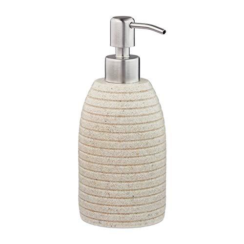 Relaxdays Seifenspender, 300 ml, nachfüllbar, Bad, WC, Küche, Flüssigseifenspender, Polyresin, Edelstahlpumpe, beige