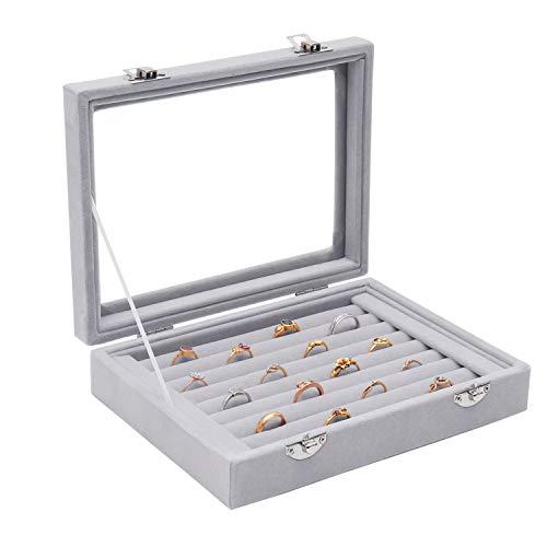 Samt Ring Aufbewahrungsbox (9 Rolls) - Schmuckhalter mit klarem Glas Deckel (L20 x D15 x H4.5cm) - Halten Sie bis zu 72 Ringe - Display Box Tablett - Ringe, Ohrringe, Anhänger & Manschettenknöpfe