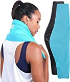"""ICEWRAPS Neck and Shoulder Ice Pack with Soft Fabric Cover - 7'x28"""" Extra Long Reusable Flexible Cold Compress Therapy Wrap for Swelling, Injuries, and Pain Relief"""