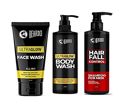 Beardo Bath and Body Combo with Ultraglow Facewash, Hair Fall Control Shampoo and Bodywash | Made in India