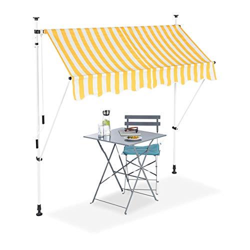 Relaxdays Klemmmarkise, Balkon Sonnenschutz, einziehbar, Fallarm, ohne Bohren, höhenverstellbar, 200 cm breit, gelb gestreift