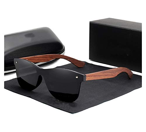 KPTHKW Moda Gafas de Sol de Madera Natural Hombres Polarizadas Moda Gafas de Sol de Madera Original para los Hombres (Lenses Color : Black bubinga Wood)