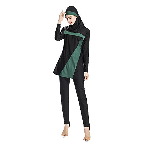 Mr Lin123 S-6XL Women Plus Size Floral Muslim Swimwear Muslimah Beach Bathing Suit Islamic Swimsuit Muslim Swim Surf Wear Sport Clothing Burkini (Black&Green, M)