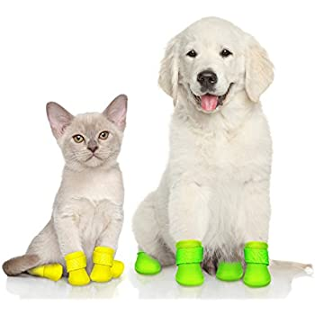 Waterproof Dog Boots | Reusable Silicone Pet Shoes, 4- Pack Adjustable Paw Protectors + Digital Guide to find and love your first Puppy by Pawefect