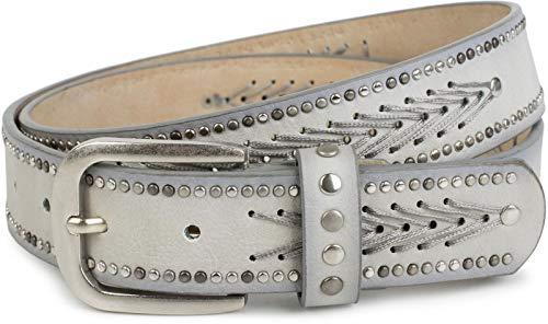 styleBREAKER cinturón de remaches con motivo de hilos y pequeños remaches planos, cinturón de remaches «vintage», acortable, unisex 03010077, tamaño:100cm, color:Negro (Ropa)