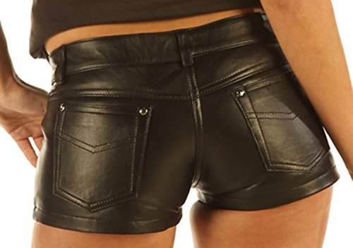 """Ladies Leather Sexy Tight Black Jeans Style Shorts 1272B (28"""")"""