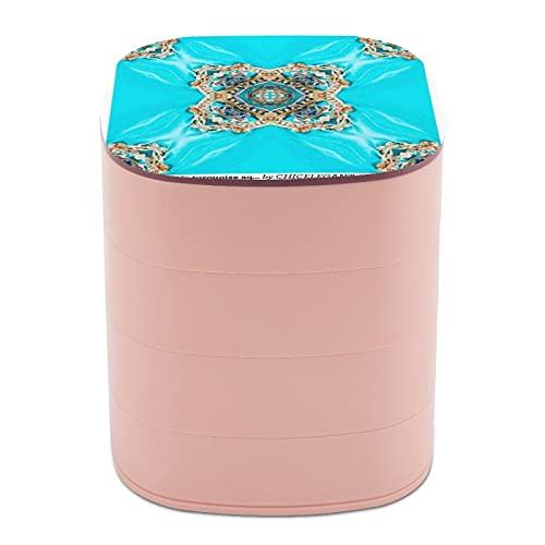 Rotar el joyero de joyería, caja de almacenamiento de 4 capas, rotación de 360 grados, caja creativa para anillos, pendientes, collar, broche, baratijas, hippie, gitano, turquesa, azul