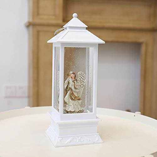 点灯スノーグローブランタン、白いトランペットの天使LEDランタンクリスマスデコレーションギフトテーブルトップスノーグローブUSB充電式で、暖かい光,白