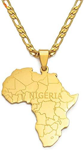 TTDAltd Mapa de África con Collares Pendientes de Nigeria Joyas de Color Dorado para Mujeres Hombres Mapas africanos Regalos de joyería