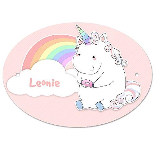 Türschild mit Namen Leonie und Einhorn-Motiv in Pastell-Optik für Mädchen   Kinderzimmer-Schild