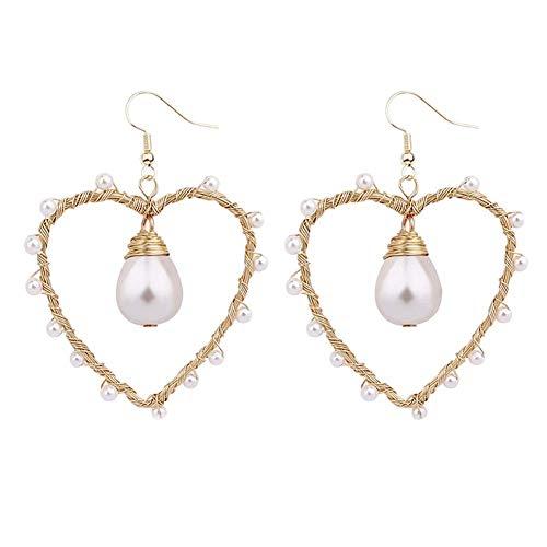 Pendientes de perlas de concha natural, estilo occidental, de cobre, trenzado, de seda, color rosa
